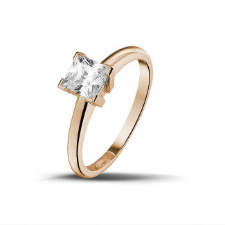 0.75 carat solitaire ring in red gold with princess diamond