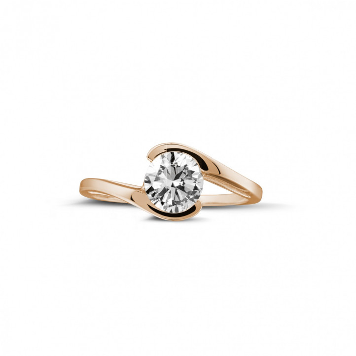 0.70 carat solitaire diamond ring in red gold