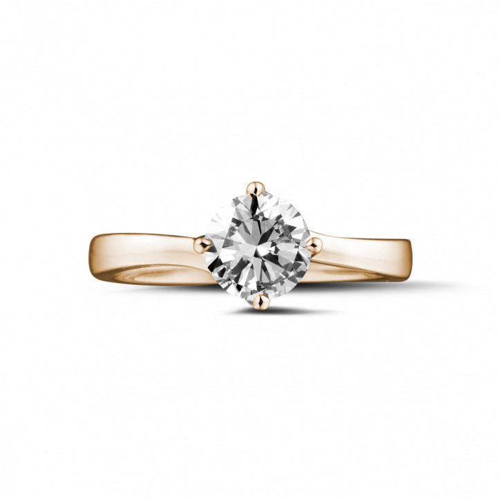0.90 carat solitaire diamond ring in red gold