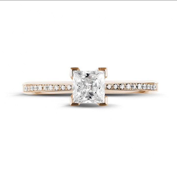 0.75 carat solitaire ring in red gold with princess diamond and side diamonds