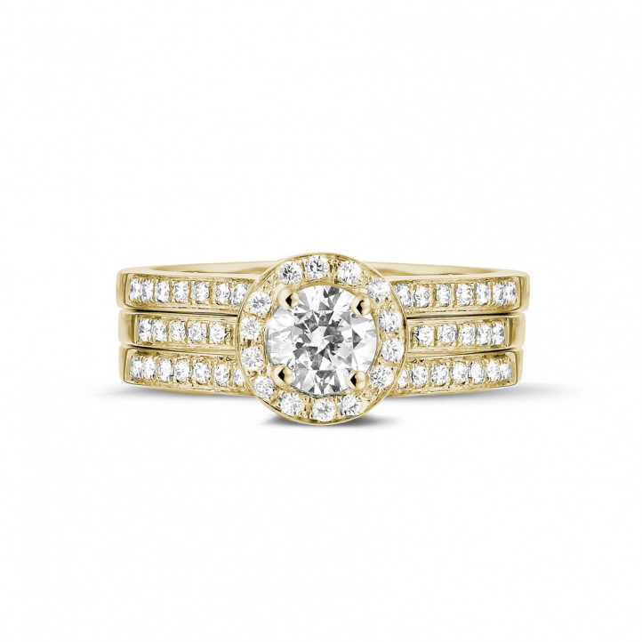 0.50 carat solitaire diamond ring in yellow gold with side diamonds