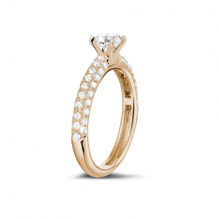 0.70 carat solitaire ring (half set) in red gold with side diamonds