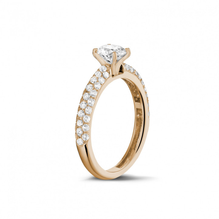 1.00 carat solitaire ring (half set) in red gold with side diamonds