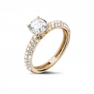 Rings - 1.00 carat solitaire ring (half set) in red gold with side diamonds