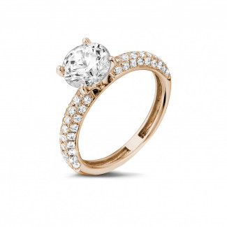 Engagement - 1.50 carat solitaire ring (half set) in red gold with side diamonds