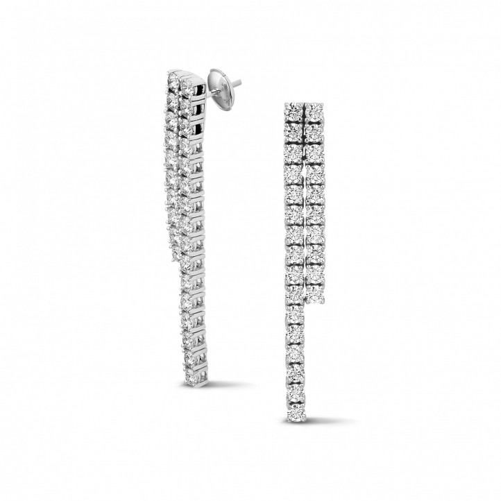 3.90 carat diamond river earrings in white gold