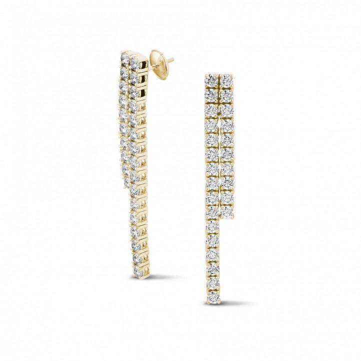 3.90 carat diamond river earrings in yellow gold