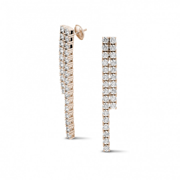 3.90 carat diamond river earrings in red gold