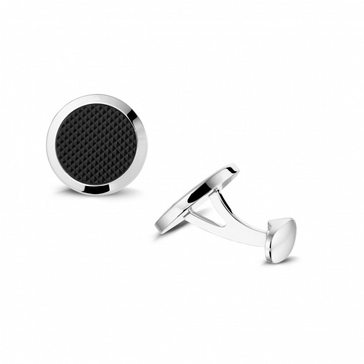 White golden cufflinks with onyx - clou de Paris
