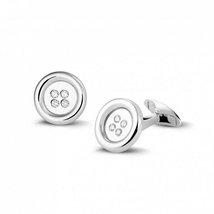 White golden cufflinks with round diamonds