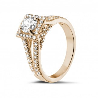 Rings - 0.70 carat solitaire diamond ring in red gold with side diamonds