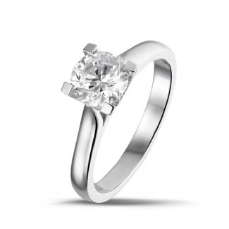 Engagement - 1.00 carat solitaire ring in white gold with diamond of exceptional quality (D-IF-EX)