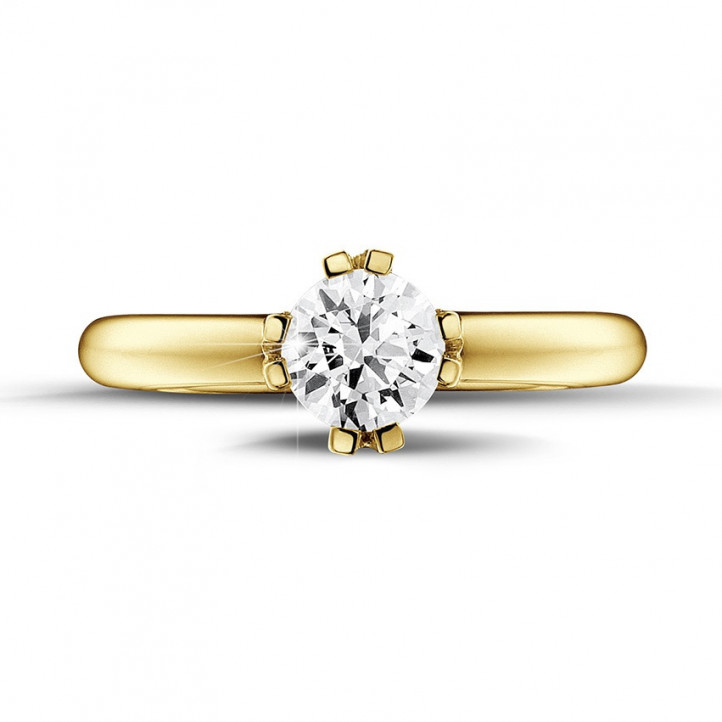 0.90 carat solitaire diamond design ring in yellow gold with eight prongs