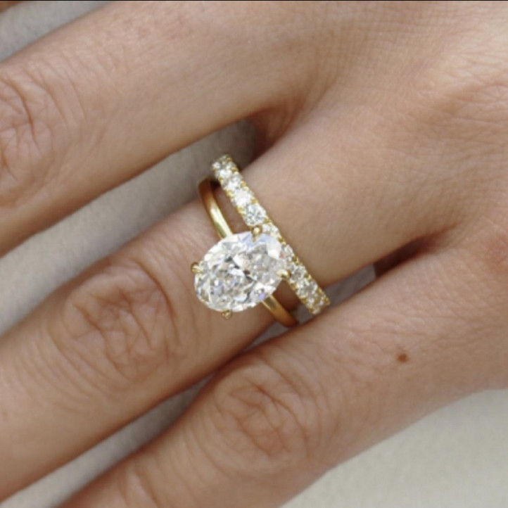 Shyrine Kessentini - 1.50 ct solitaire ring in yellow gold with oval diamond