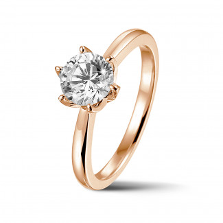 Engagement - BAUNAT Iconic 1.00 carat solitaire ring in red gold with round diamond