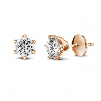 Earrings - BAUNAT Iconic solitaire earrings in red gold with round diamonds of 1.00 Ct each