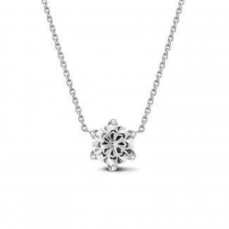 Necklaces - BAUNAT Iconic 1.00 carat solitaire pendant in white gold with round diamond