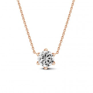 Necklaces - BAUNAT Iconic 1.00 carat solitaire pendant in red gold with round diamond