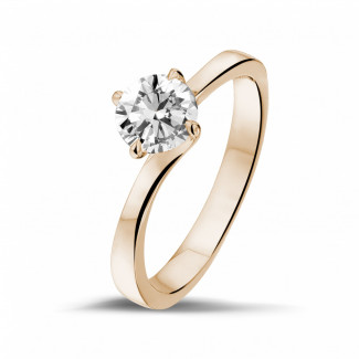 Red Gold Diamond Rings - 0.90 carat solitaire diamond ring in red gold
