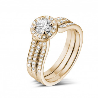 0.50 carat solitaire diamond ring in red gold with side diamonds