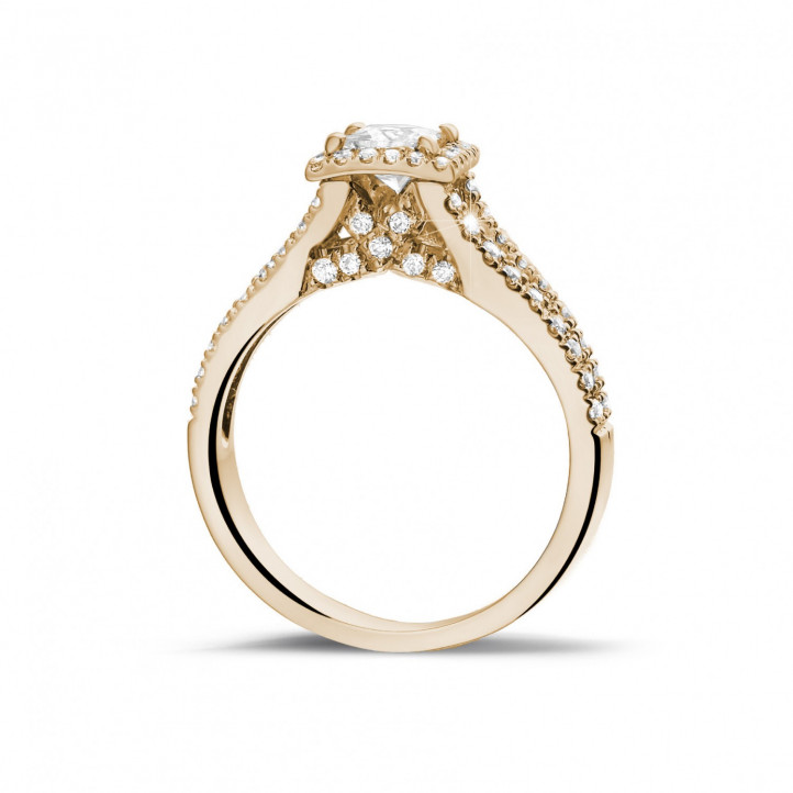 0.50 carat solitaire ring in red gold with princess diamond and side diamonds