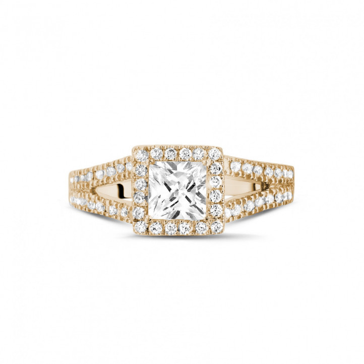 0.70 carat solitaire ring in red gold with princess diamond and side diamonds
