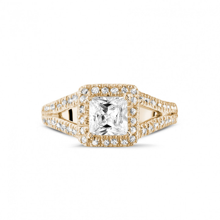 1.00 carat solitaire ring in red gold with princess diamond and side diamonds