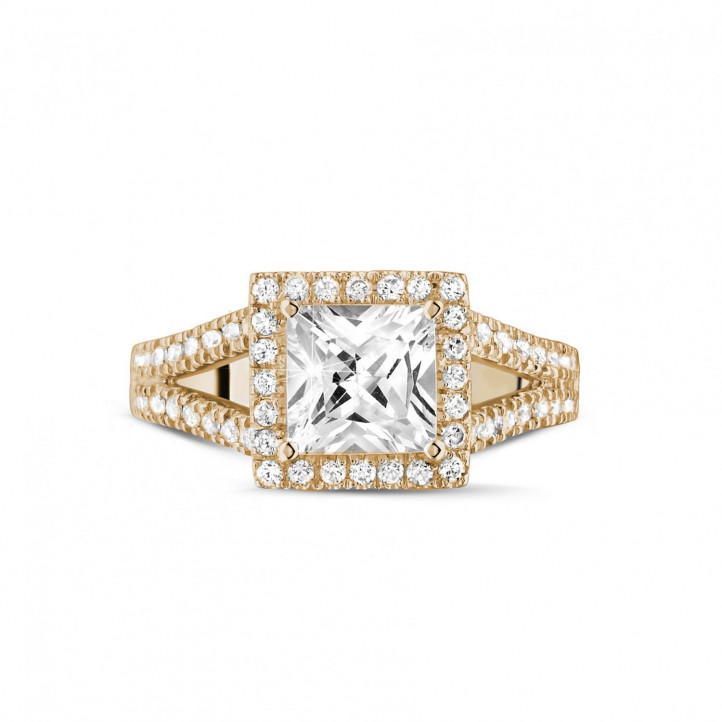 1.50 carat solitaire ring in red gold with princess diamond and side diamonds
