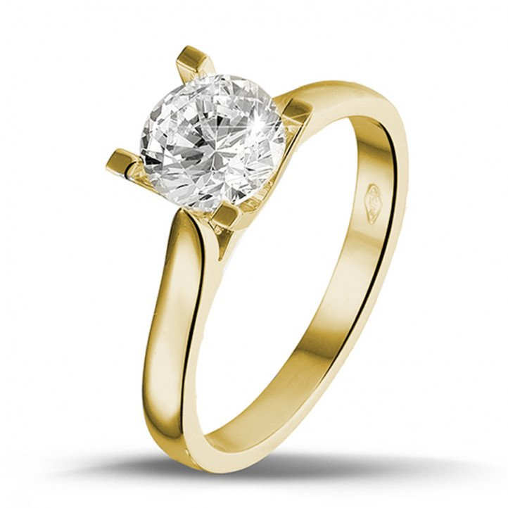 Yellow Gold Diamond Engagement Rings 1 50 carat BAUNAT