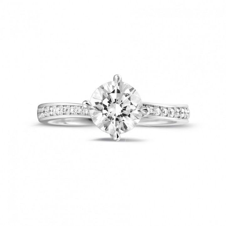 1.25 carat solitaire diamond ring in white gold with side diamonds