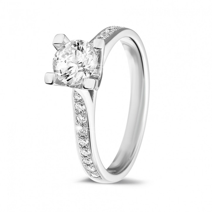 0.70 carat solitaire diamond ring in white gold with side diamonds