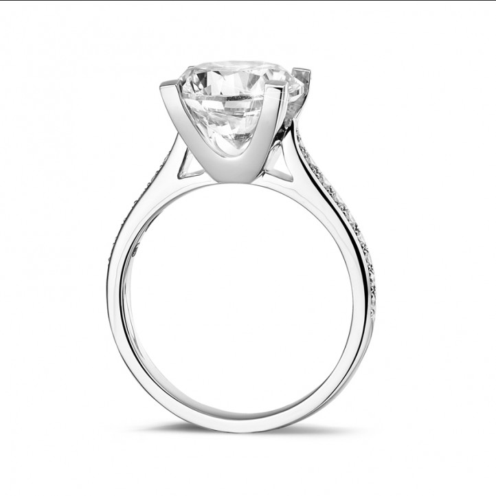 3.00 carat solitaire diamond ring in white gold with side diamonds