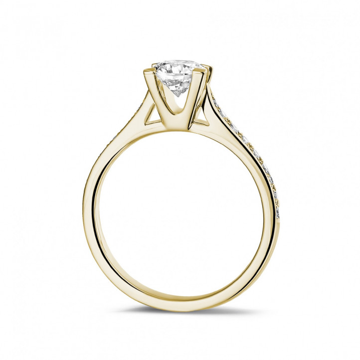 0.75 carat solitaire diamond ring in yellow gold with side diamonds