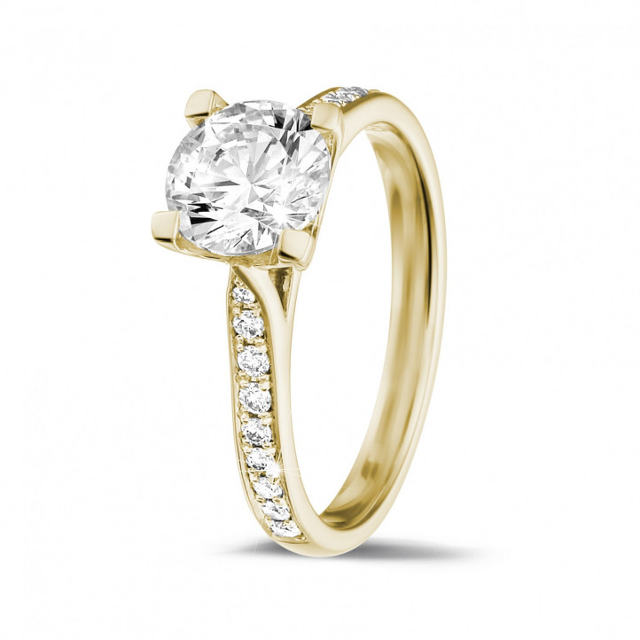 Yellow Gold Diamond Engagement Rings 1 25 carat BAUNAT