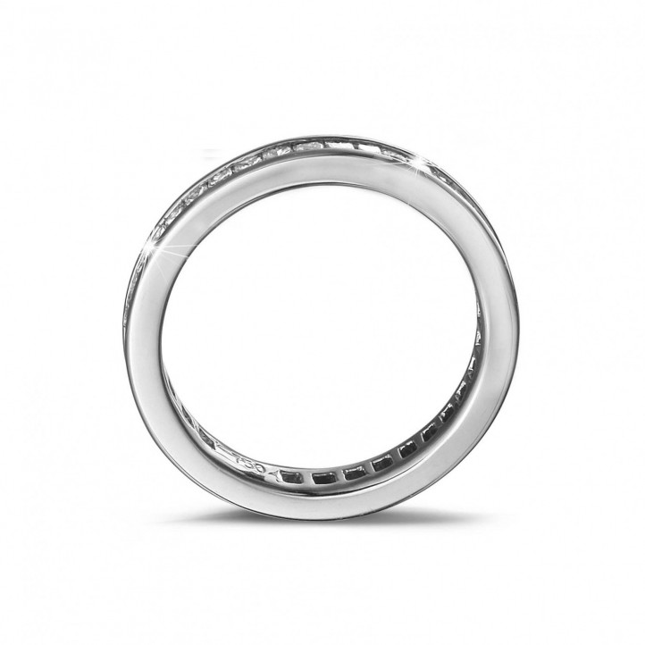 0.90 carat eternity ring in white gold with small princess diamonds