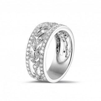 White Gold Diamond Rings - 0.35 carat wide floral alliance in white gold with small round diamonds