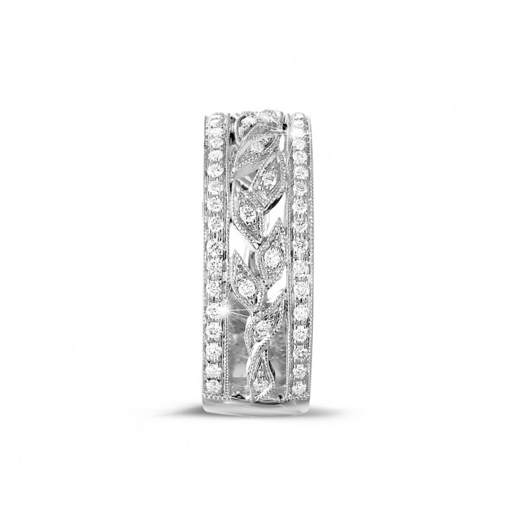 0.35 carat wide floral eternity ring in white gold with small round diamonds