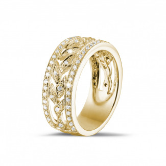 Yellow Gold Diamond Rings - 0.35 carat wide floral alliance in yellow gold with small round diamonds