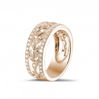 Red Gold Diamond Rings - 0.35 carat wide floral alliance in red gold with small round diamonds