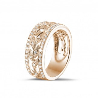 Red Gold Diamond Rings - 0.35 carat wide floral eternity ring in red gold with small round diamonds