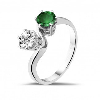 White Gold Diamond Engagement Rings - Toi et Moi ring in white gold with round diamond and emerald