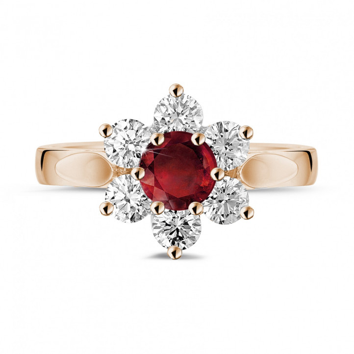 Flower ring in red gold with a round ruby and side diamonds