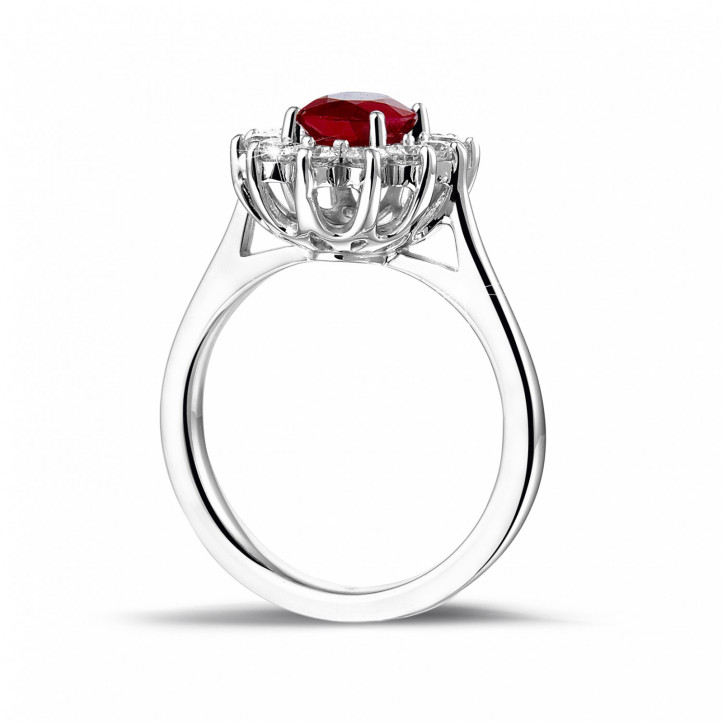 Entourage ring in platinum with an oval ruby and round diamonds