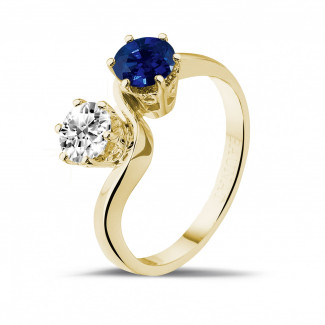 Yellow Gold Diamond Engagement Rings - Toi et Moi ring in yellow gold with round diamond and sapphire