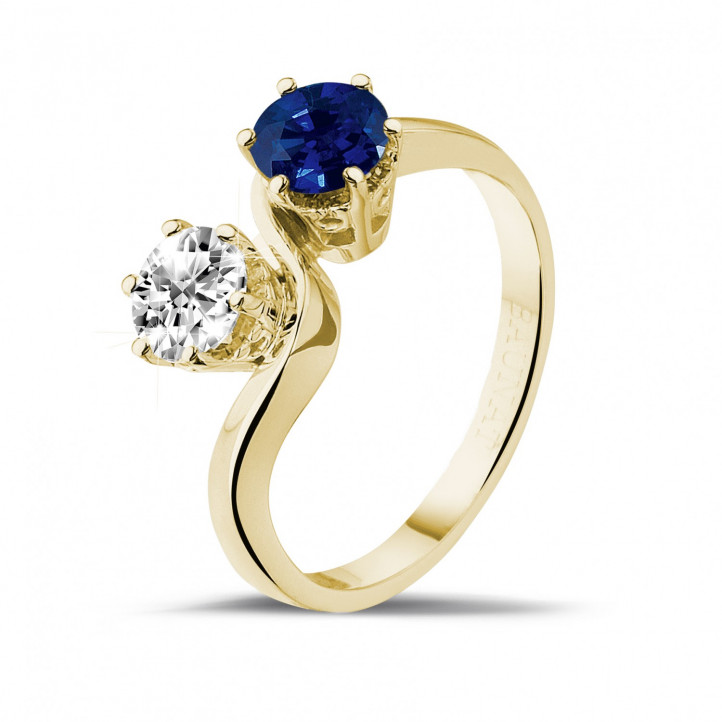 Toi et Moi ring in yellow gold with round diamond and sapphire