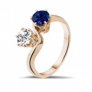 Red Gold Diamond Rings - Toi et Moi ring in red gold with round diamond and sapphire