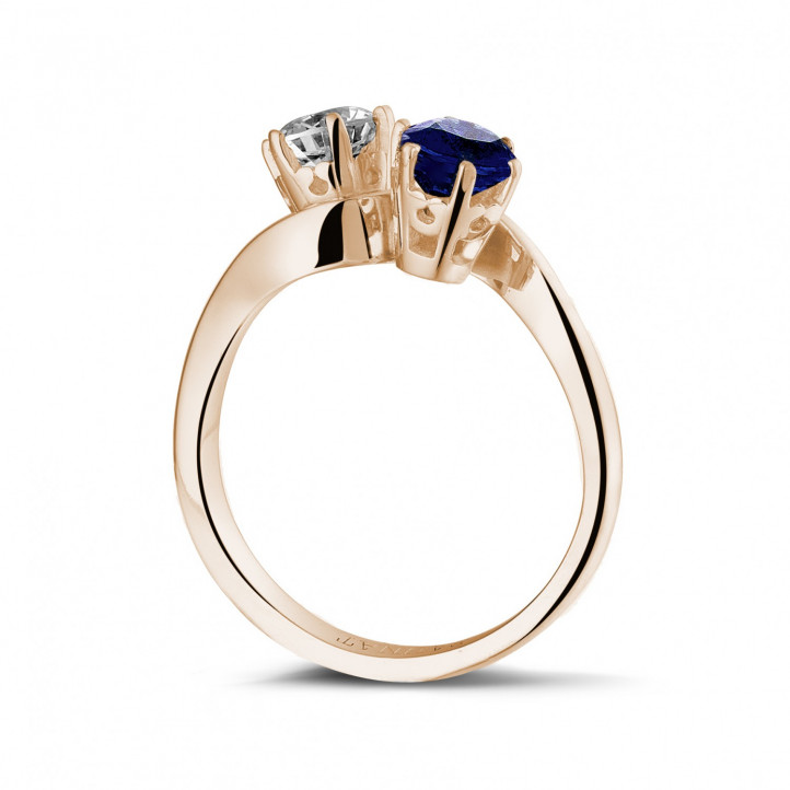 Toi et Moi ring in red gold with round diamond and sapphire