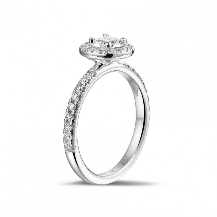 0.50 carat solitaire halo ring in white gold with round diamonds