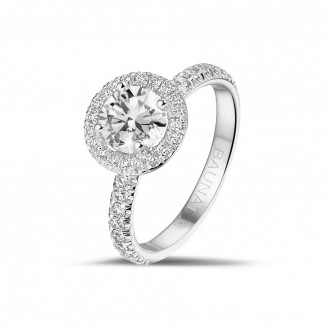 White Gold Diamond Rings - 1.00 carat solitaire halo ring in white gold with round diamonds