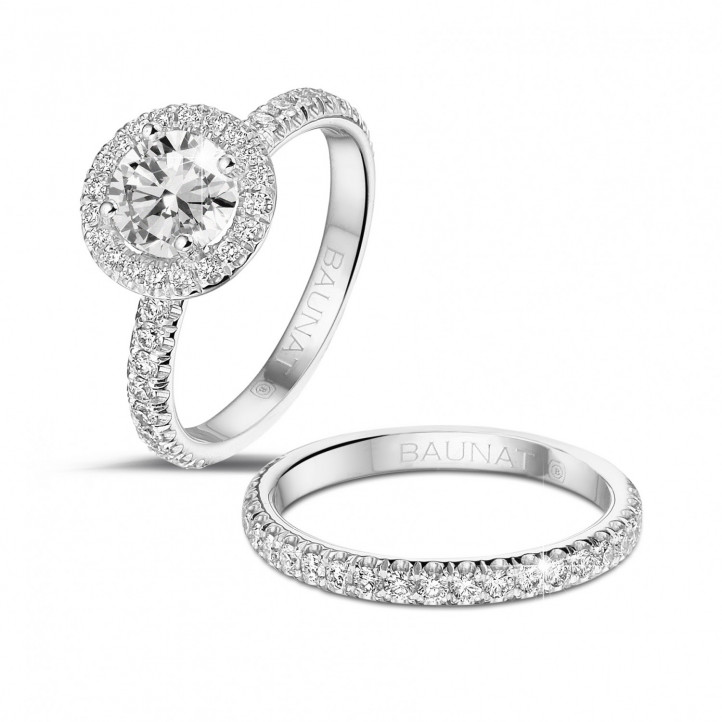 1.00 carat solitaire halo ring in white gold with round diamonds